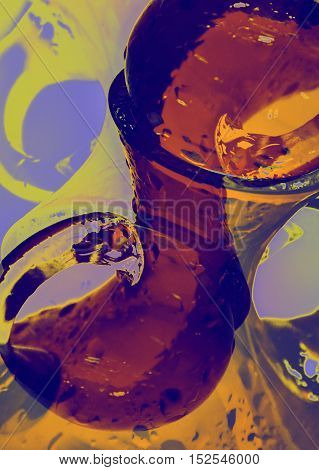 Abstract glass design for a stylish kitchen interior painting on the wall