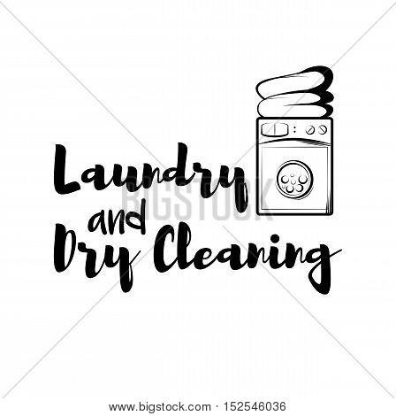 Vintage laundry emblem. Washing Machine. Dry Cleaning label. Vector Illustration. Isolated On White