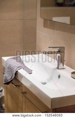 Bathroom interior with towel, copy space, closeup