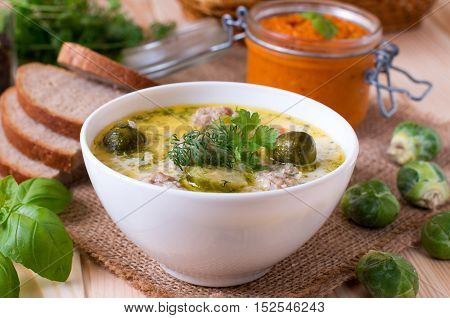 Soup with brussels sprouts and vegetables on the plate