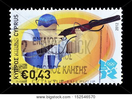 CYPRUS - CIRCA 2012 : Cancelled postage stamp printed by Cyprus, that shows Shooting.
