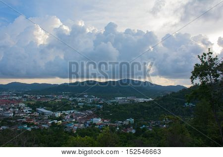 Looking at Phuket town view and Scenery gorgeous clouds with beautiful sky View from the viewpoint at Khao Rang Hill Phuket ,Thailand(popularity of viewpoint in Phuket)