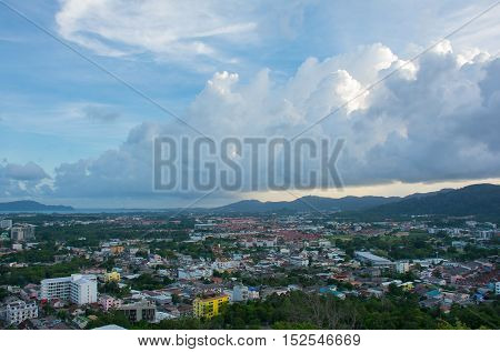 The views from Phuket Town in the evening sky with beautiful clouds at Khao Rang hill PhuketThailand (popularity of viewpoint in Phuket)