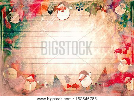 A grunge style Christmas santa background page designed with hand painted watercolour effects.
