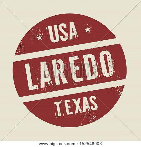 Grunge vintage round stamp with text Laredo Texas vector illustration