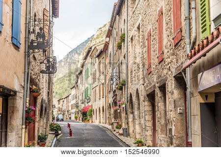 VILLEFRANCHE DE CONFLENT,FRANCE - AUGUST 29,2016 - Villefranche de Conflent is historically a town in the Conflent region of Catalonia and now a commune in the Pyrenees-Orientales department in southern France.