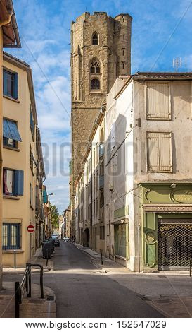 CARCASSONNE,FRANCE - AUGUST 29,2016 - In the streets of Carcassonne City. Carcassonne is a fortified French town in the Aude department.