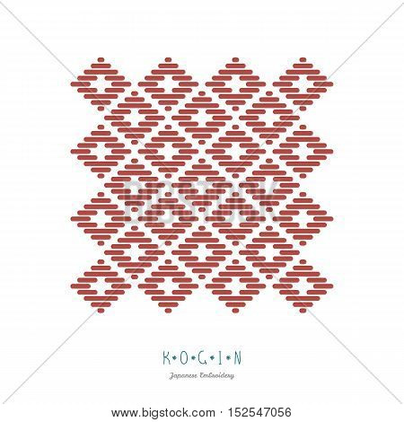 Frame for text. Japanese Kogin embroidery style. Traditional pattern Mameko. Abstract illustration. Simple geometric ornament.