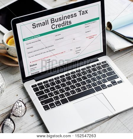 Small Business Tax Credits Claim Return Deduction Refund Concept