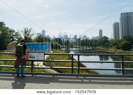 Chicago USA - September 25 2015: Tourist is watching on skyline of Chicago from Northside south towards the city.