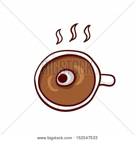 Cup of hot coffee with eyeball. Halloween lunch clip-art, isolated on white.
