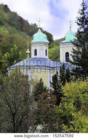 Ancient monastery. Village Saharna. Dome of the church