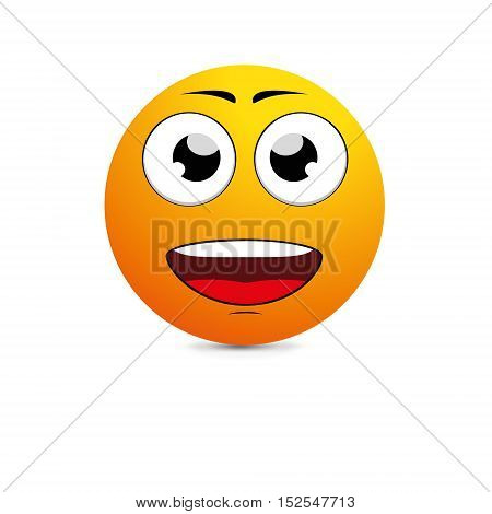 Emoticon with big toothy smile. Vector illustration