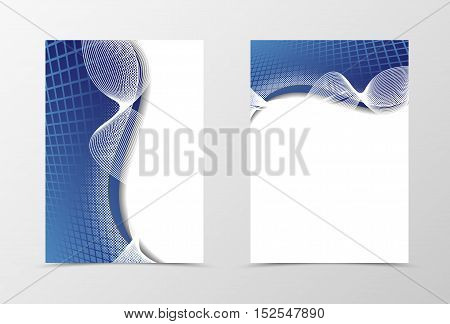 Grid flyer template design. Abstract flyer template in blue color with silver lines in the form of a bow. Netting flyer design. Vector illustration