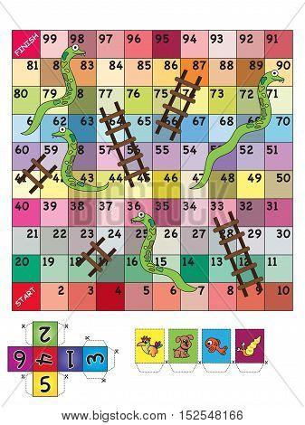 An indoor game of Snake Ladder for children
