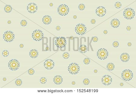 Seamless lace boho pattern. Abstract ethnic circle ornament on yellow background.