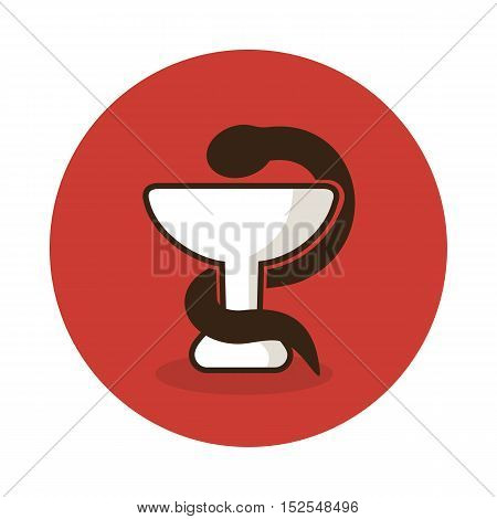 Medicine icon - snake on cup. Medical vector eps 10