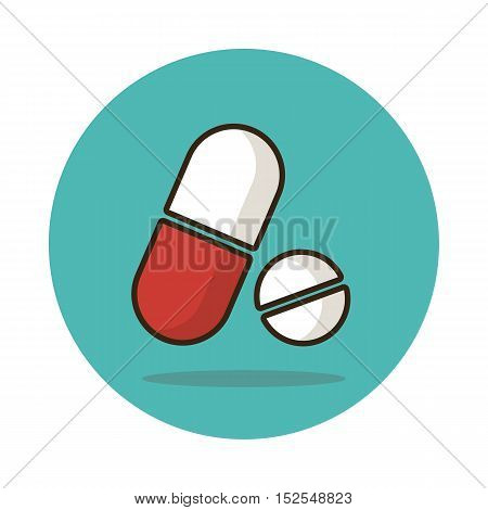 Medical pill flat icon. Medication vector sign eps 10