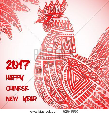 New Year greeting card with Red Rooster. Chinese new year 2017 - Rooster Year. Vector illustration