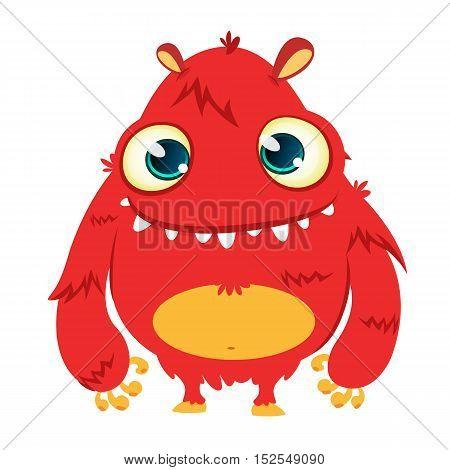 Happy cartoon monster. Vector Halloween red furry monster