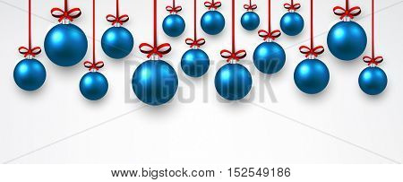 New Year white banner with blue Christmas balls. Vector illustration.