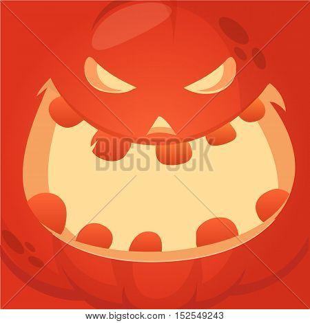Cartoon vector monster pumpkin face. Cute square avatar and icon