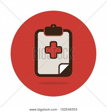 Clipboard flat icon. Medical vector eps 10