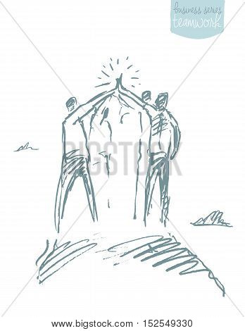 Group of people at the top of a hill holding hands. Teamwork concept. Vector illustration, sketch.