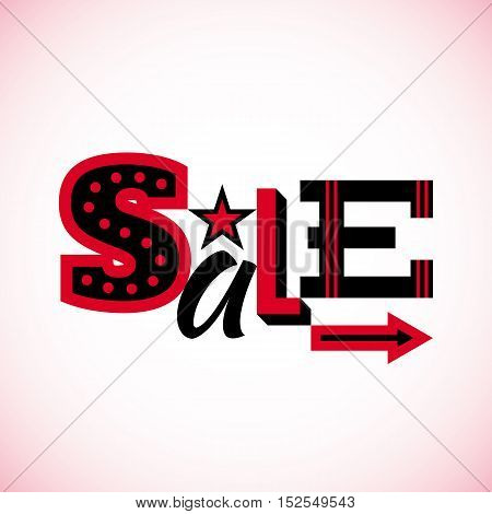 Sale label for Black friday, Cyber monday or other sales isolated on white background. Vector illustration