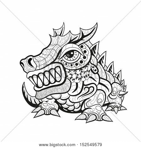 Zentangle tribal dragon designs black and white ornament graphics. Suitable for tattoo pendant carving coloring book. vector illustration.
