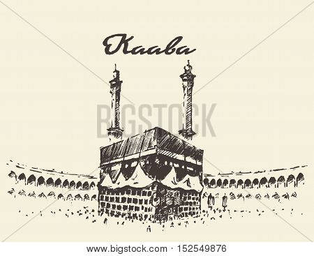 Holy Kaaba in Mecca Saudi Arabia with muslim people, vintage engraved illustration, hand drawn, sketch