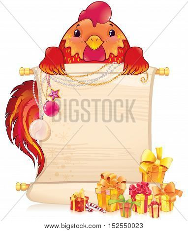 The red fire rooster is a symbol of the approaching new 2017 year. Symbol of Chinese horoscope. Illustration with a copy-space. Created in Adobe Illustrator. Image contains gradients transparency blending modes.
