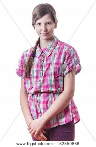 Teenage girl with long hair standing isolated on white