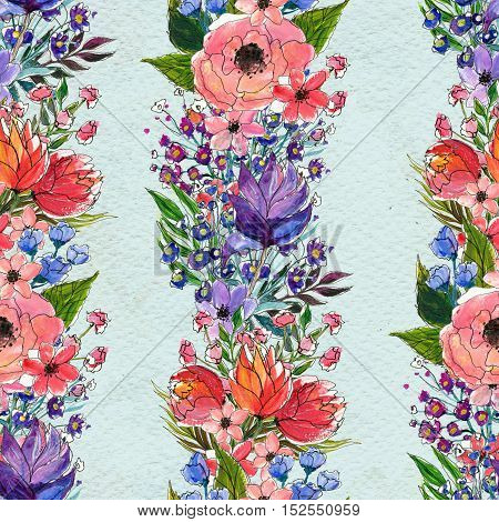 Seamless pattern with colorful flowers. Watercolor background. Vertical floral garlands.