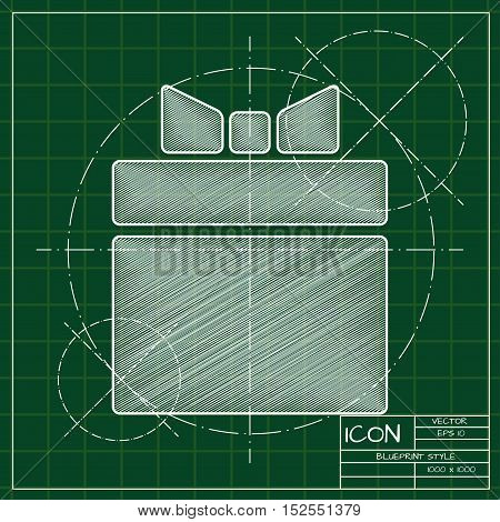 Vector blueprint gift box icon . Engineer and architect background.