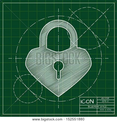 Vector blueprint lock heart icon . Engineer and architect background.