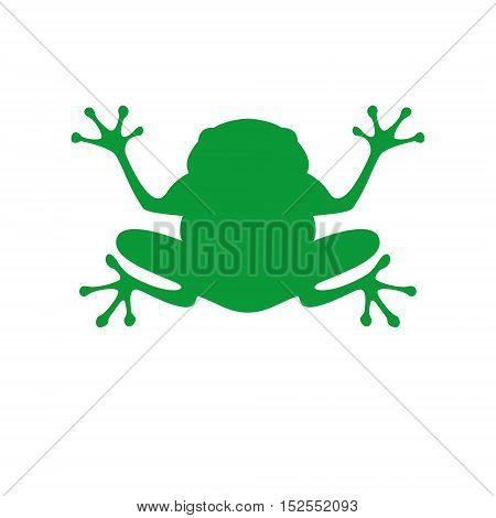 Green frog in flat style. Vector Illustration