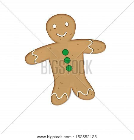 Gingerbread man. Holiday cookie in shape of man
