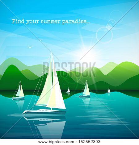 Sailboats regatta on beautiful mountains landscape background. Vector illustration