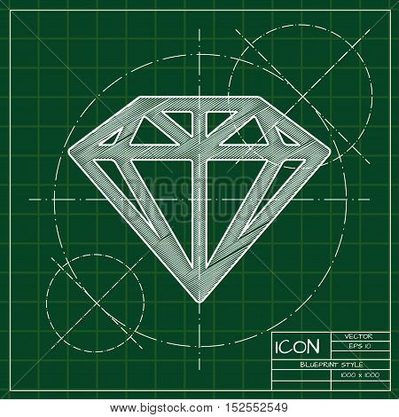 Vector blueprint diamond icon . Engineer and architect background.
