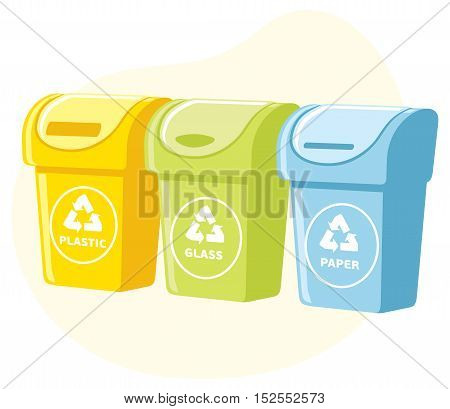 Different colored recycle waste bins  illustration, Waste types segregation recycling. plastic, paper, glass waste.