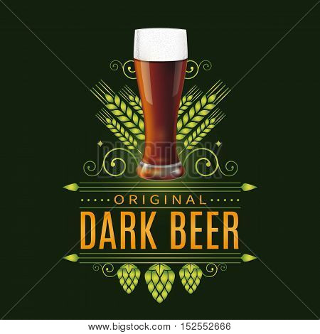 Vintage label design with realistic glass of dark beer. Vector illustration