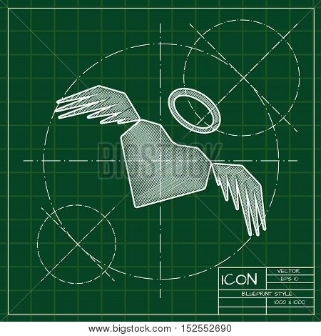 Vector blueprint heart with wings icon . Engineer and architect background.