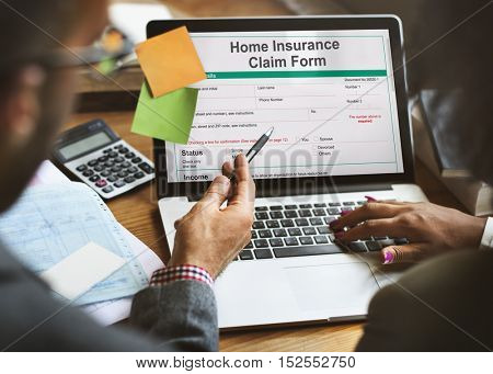 Home Insurance Claim Form Document Refund Concept