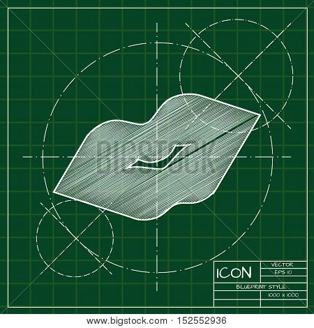Vector blueprint kiss icon. Engineer and architect background.