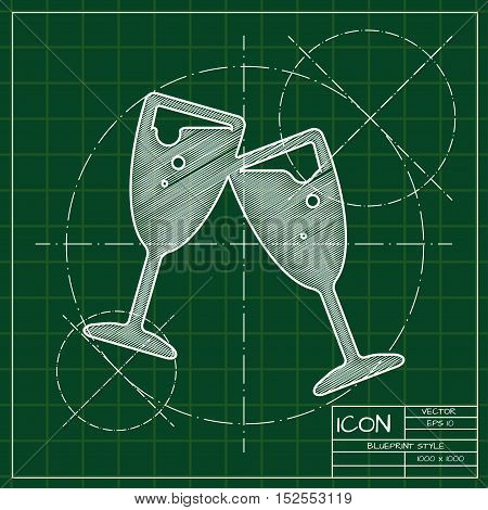 Vector blueprint stemware icon . Engineer and architect background.