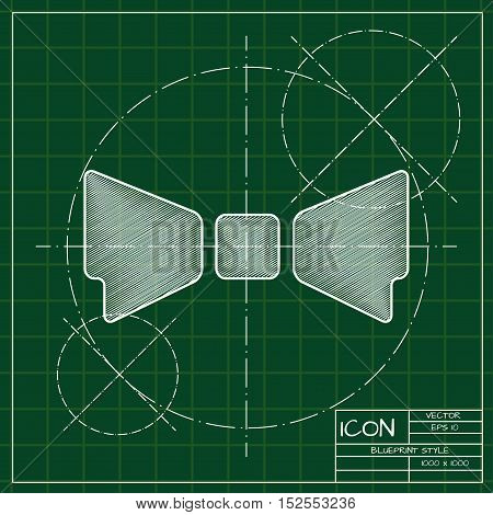 Vector blueprint bow-tie icon . Engineer and architect background.