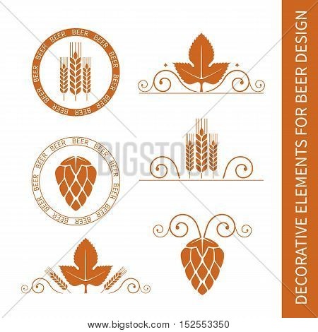Decorative floral elements with barley or wheat ears and hop cones for beer label design. Design of borders and stamps. Vector illustration