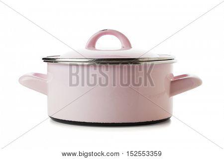 shabby pink enamel enamel pot isolated on white background