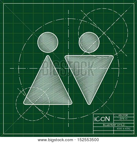 Vector blueprint man and woman icon . Engineer and architect background.